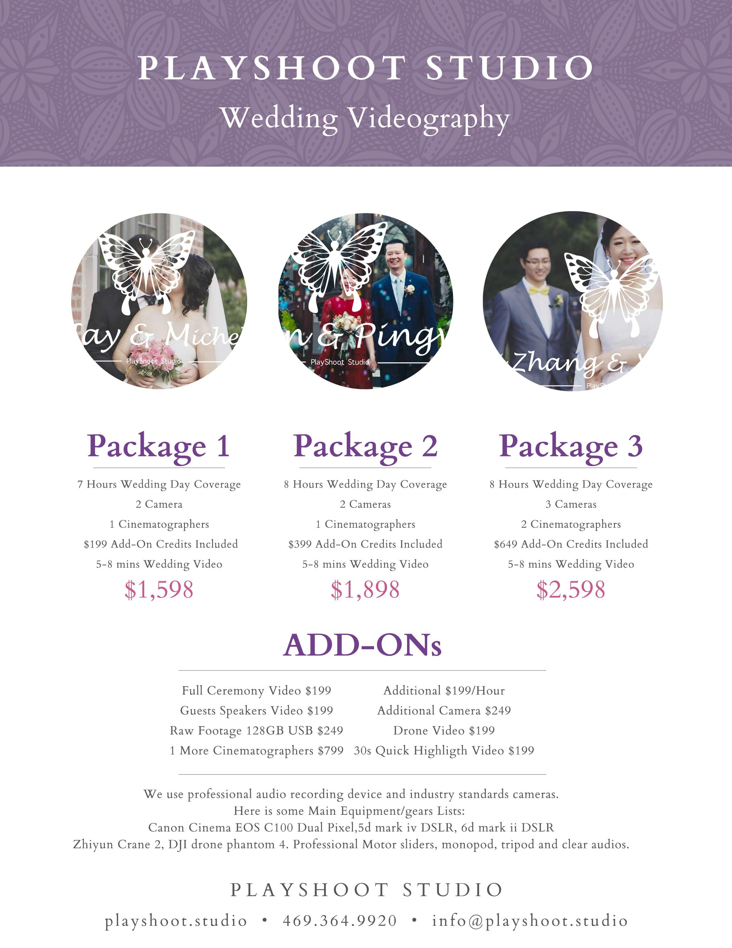 Wedding Videography 2020 Pricing - PlayShoot Studio